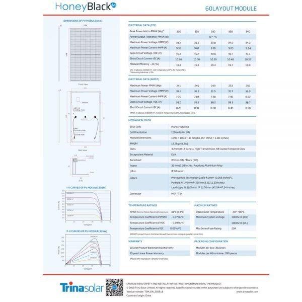 Trina 330 Watt 120 Cell HONEY black 3